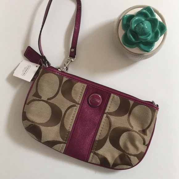 Coach Handbags - { Coach } Large wristlet khaki passion berry